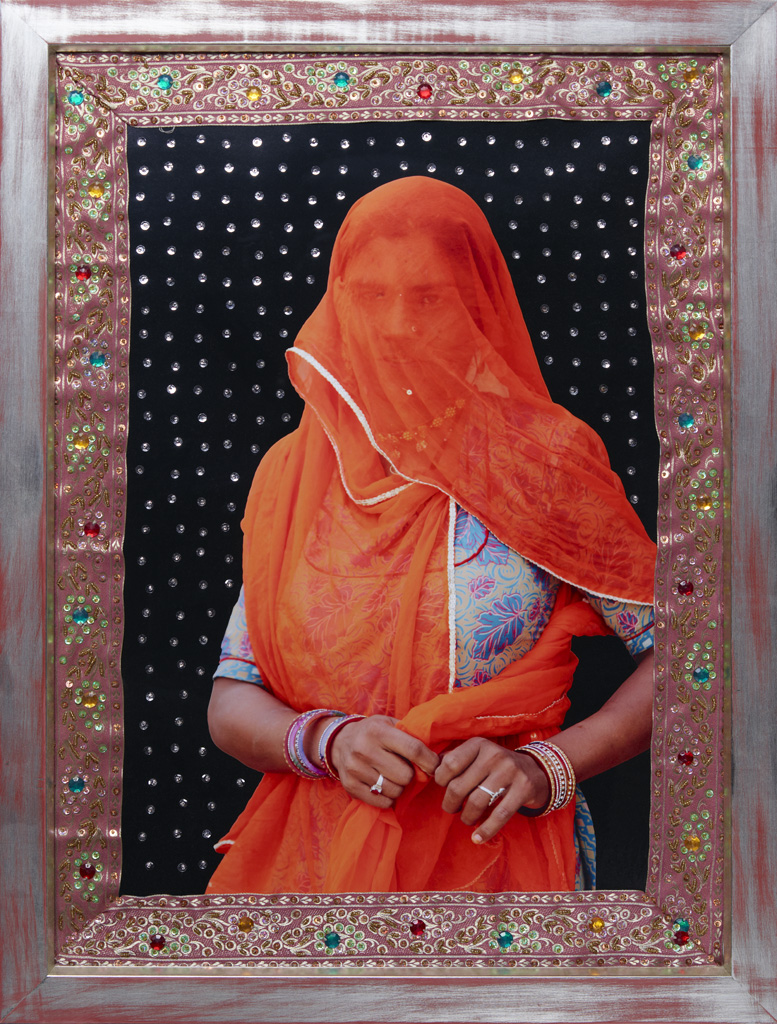 from the series 'Under Shiva's Shield' (married village woman in Rajasthan, shown by the orange veil), beaded and embroidered photograph, 70 x 50 cm, 2009