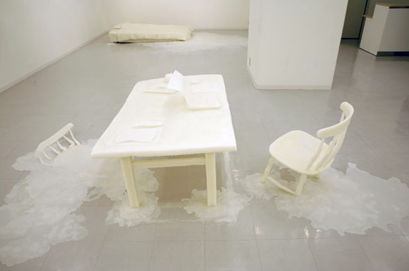 © Takakazu Takeuchi - Dinner Table and Chairs, Mixed Media, 79x33x48""