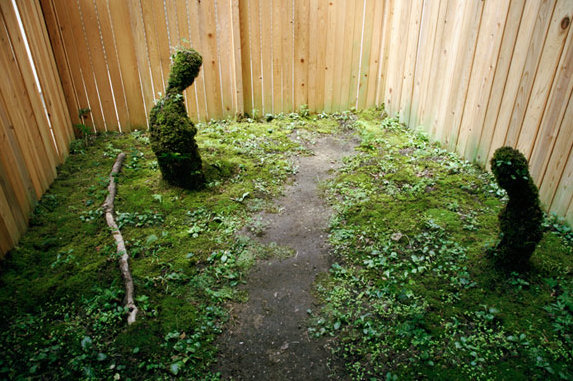 © Takakazu Takeuchi, Hojo No Yume, Installation, Wood, Soil , Plants, 10x16x10'