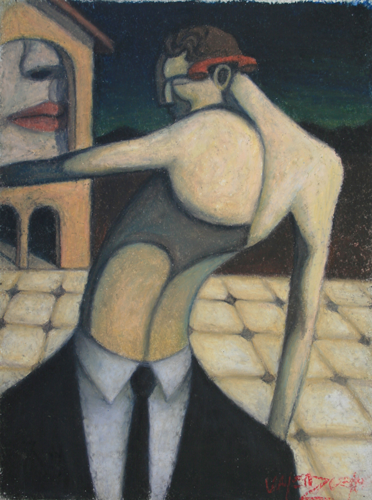 "© Scott Valenzuela - The Talking House Tango, 2012, Oil Pastels on Paper, 14.5x11"""