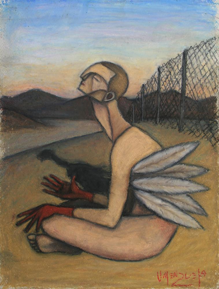 "© Scott Valenzuela - Icarus reflects, 2012, Oil pastels on Paper, 14.5x11"""