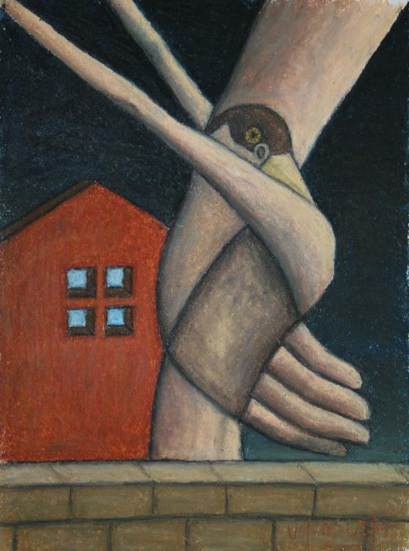 """Scott Valenzuela - A Bird in the Hand, 2012, Oil Pastels on Paper, 13.5x10.5"""""""