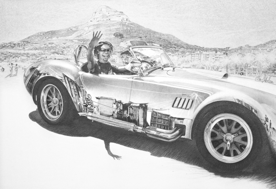 © Claus-Steffen Braun - 'Cobra Drive' from Cape Town Series, Pencil, 63x90cm, Print 24x33""