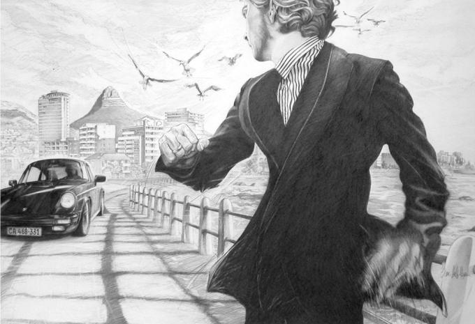 "© Claus-Steffen Braun - 'Cool Runnings' from Cape Town Series, Pencil, 63x90cm, Print 16x24"""