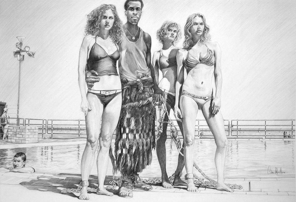 "© Claus-Steffen Braun - 'Slave Girls' from Cape Town Series, Pencil, 63x90cm, Print 16x24"""
