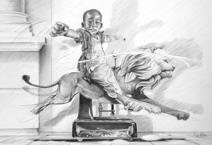 "© Claus-Steffen Braun - 'Slow Riding' from Cape Town Series, Pencil, 63x90cm, Print 16x24"""