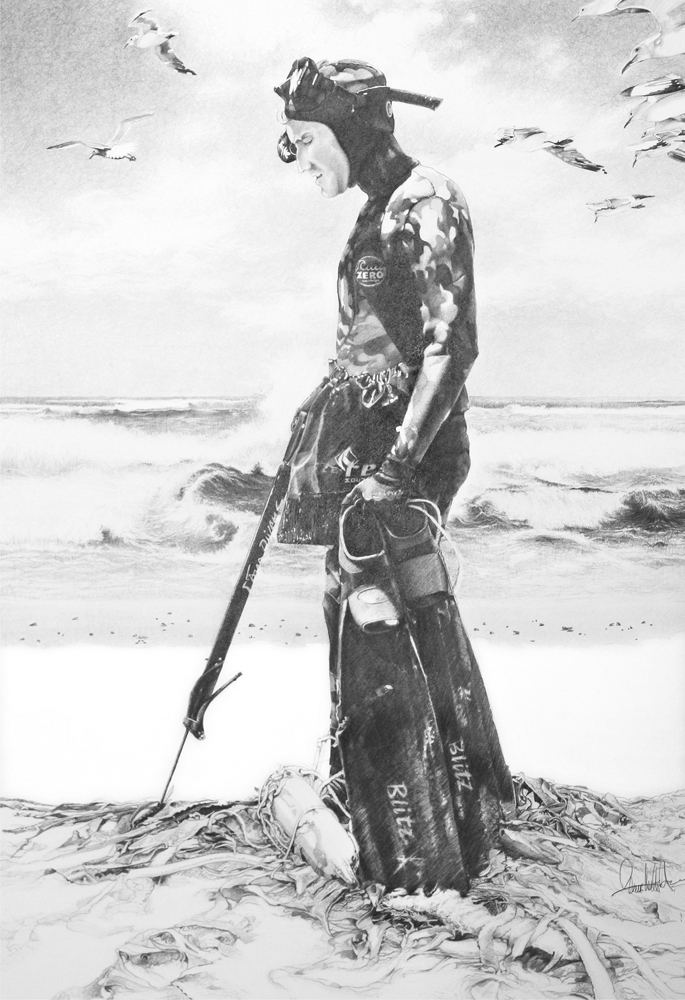 "© Claus-Steffen Braun - 'Spear Fishing"" from Cape Town Series, Pencil, 63x90cm, Print 16x24"""