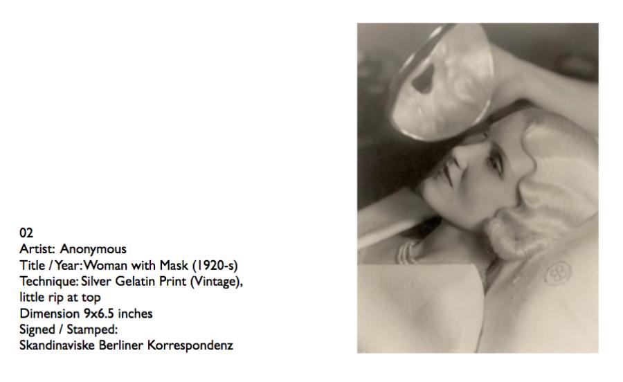 """""""Woman with Mask"""" 1920-s - © Skandinaviske Berliner Korrespondenz"""